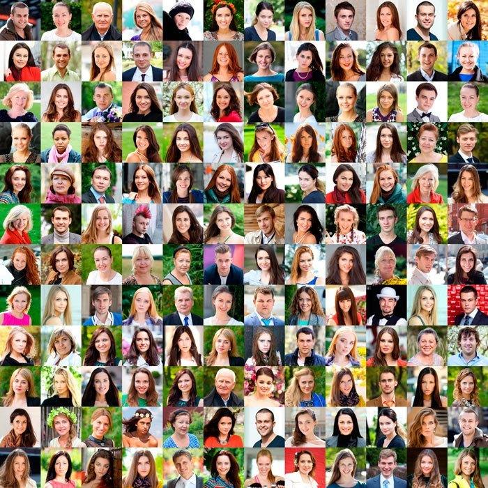 много фотографий людей